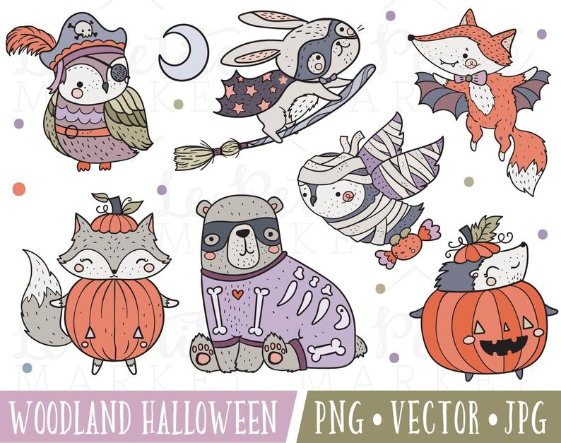 Animals clipart halloween. Woodland set cute costume