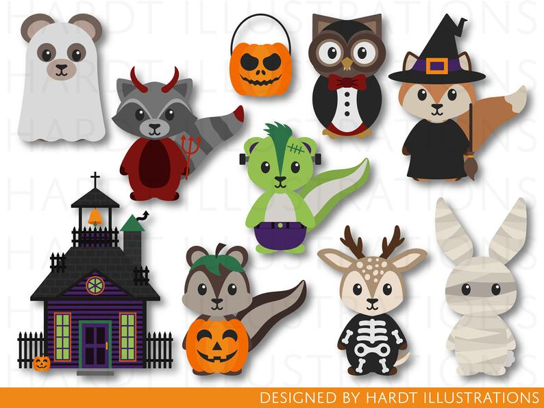 Woodland clip art monster. Animals clipart halloween