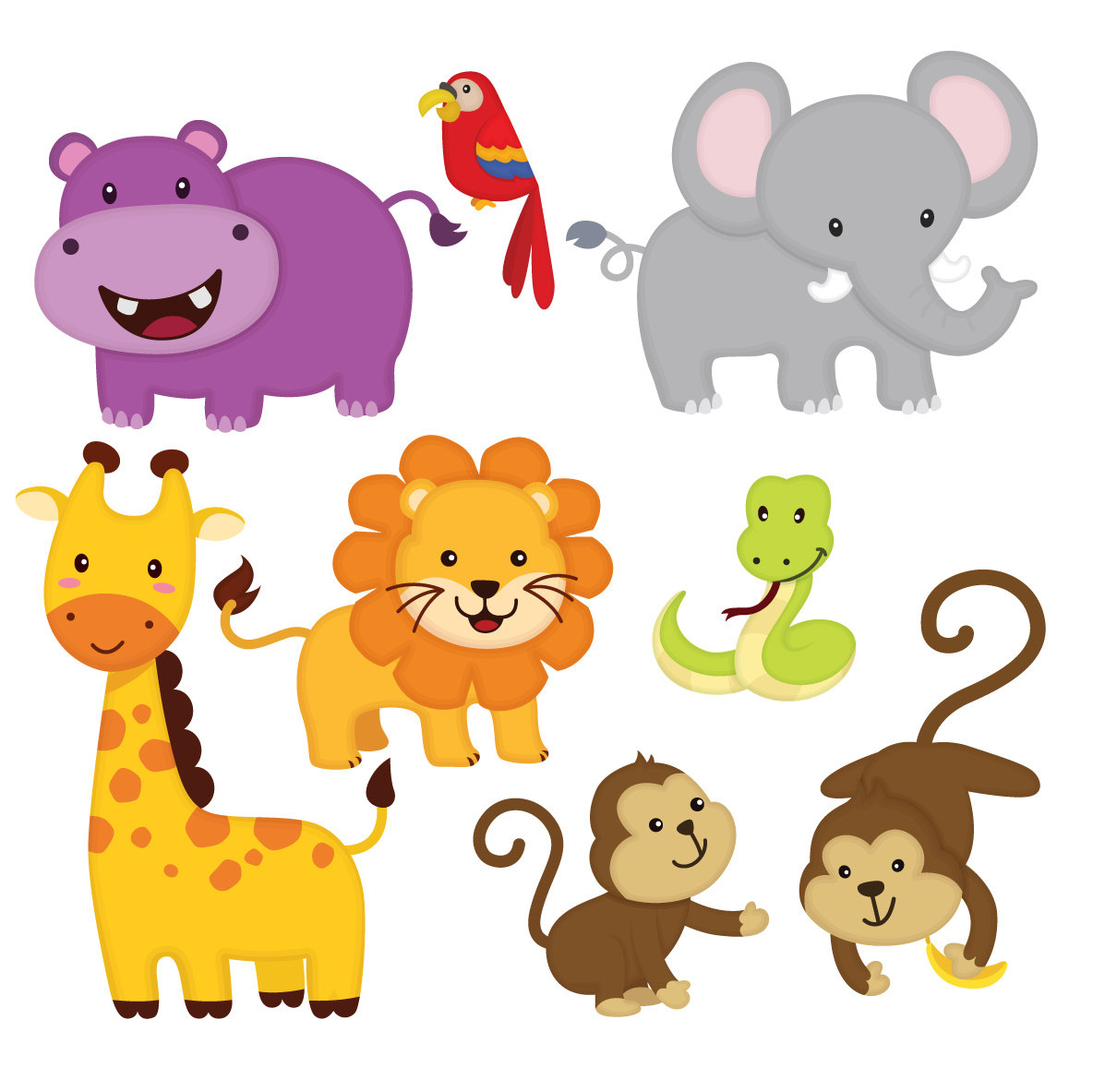 Animals clipart jungle. Animal friends cute this
