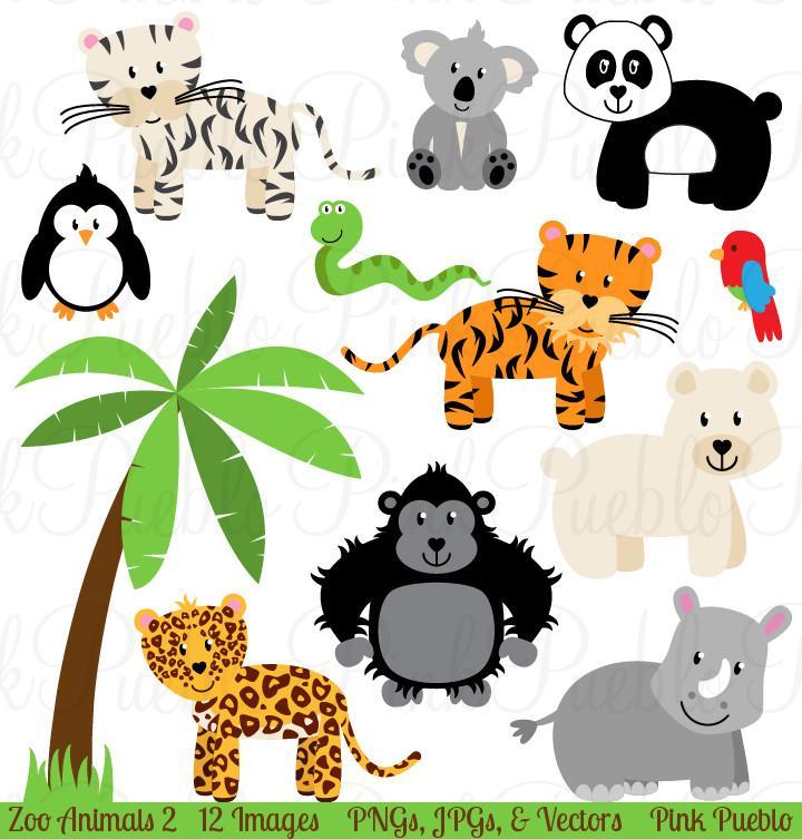 Animals clipart jungle. Zoo vectors pinkpueblo