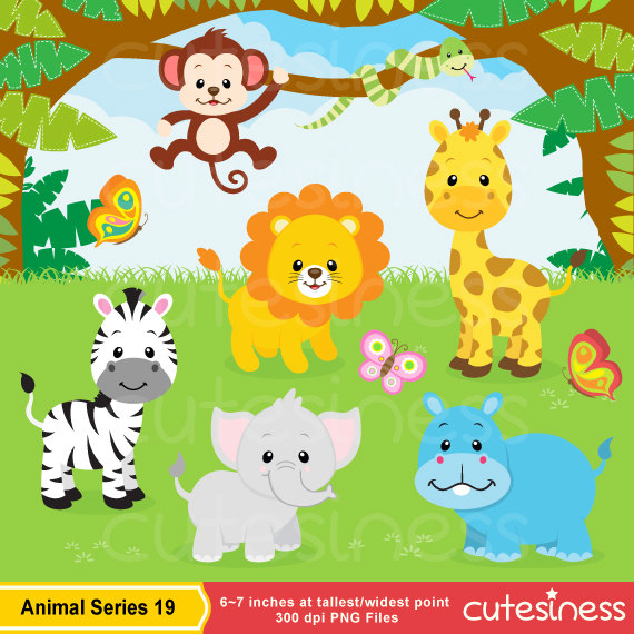 Jungle safari clip art. 2 clipart animal number