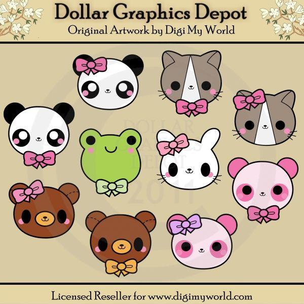 Animal faces dollar graphics. Animals clipart kawaii