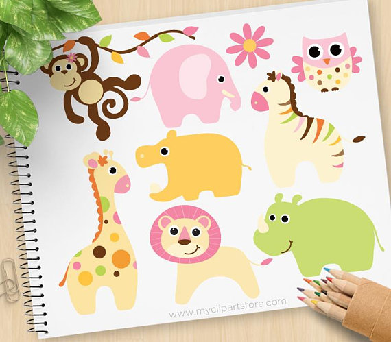 Baby girl safari monkey. Animals clipart lion