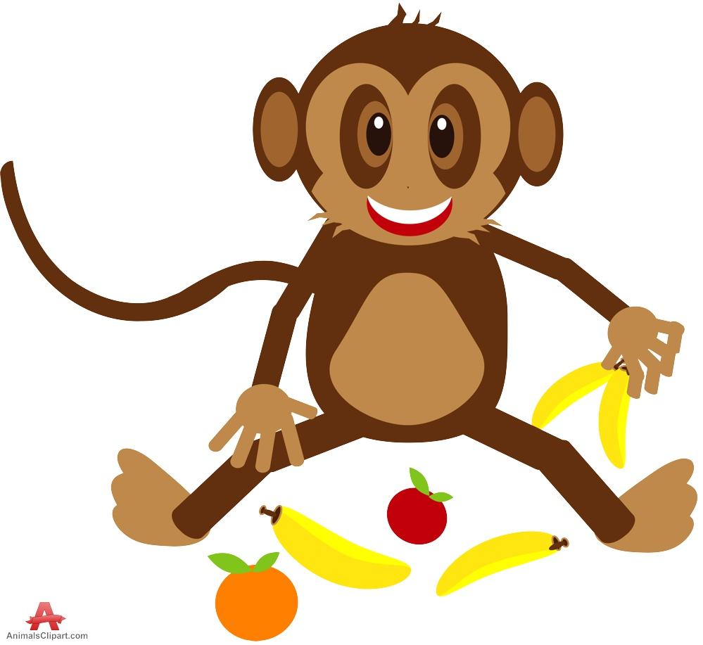 Animals clipart monkey. Happy with fruits food