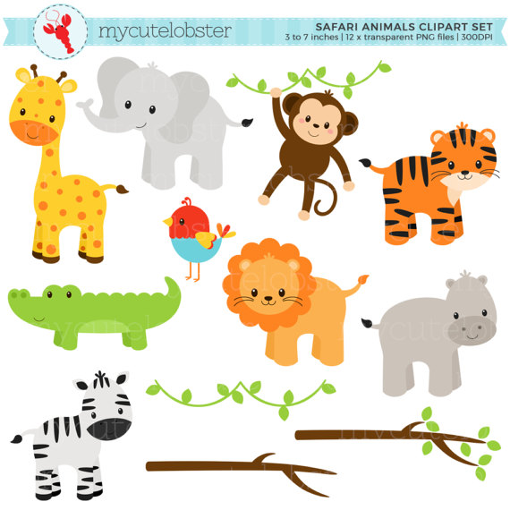 Animals clipart monkey. Safari set clip art