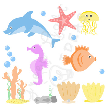 Sea creatures graphics tpt. Animals clipart ocean