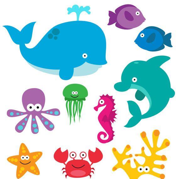 Animals clipart ocean. Sea animal clip art