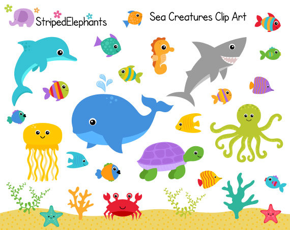 Animals clipart ocean. Sea creatures clip art