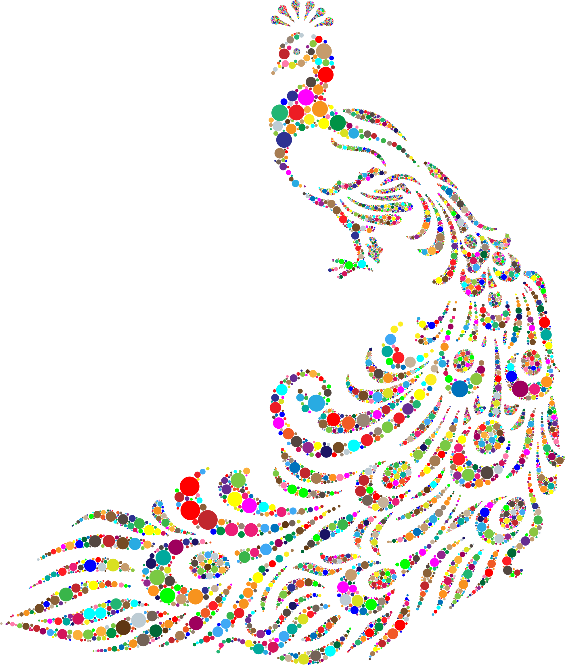Animals clipart peacock. Colorful circles big image