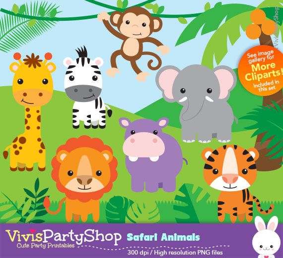 Animals clipart printable. Safari instant download png