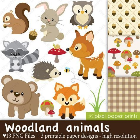Animals clipart printable. Free download baby woodland