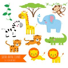 Professional baby jungle vector. Animals clipart printable