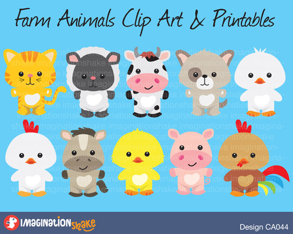 Animals clipart printable. Farm clip art printables