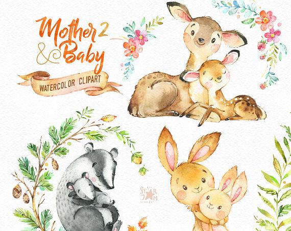 Mother baby watercolor deer. Animals clipart rabbit