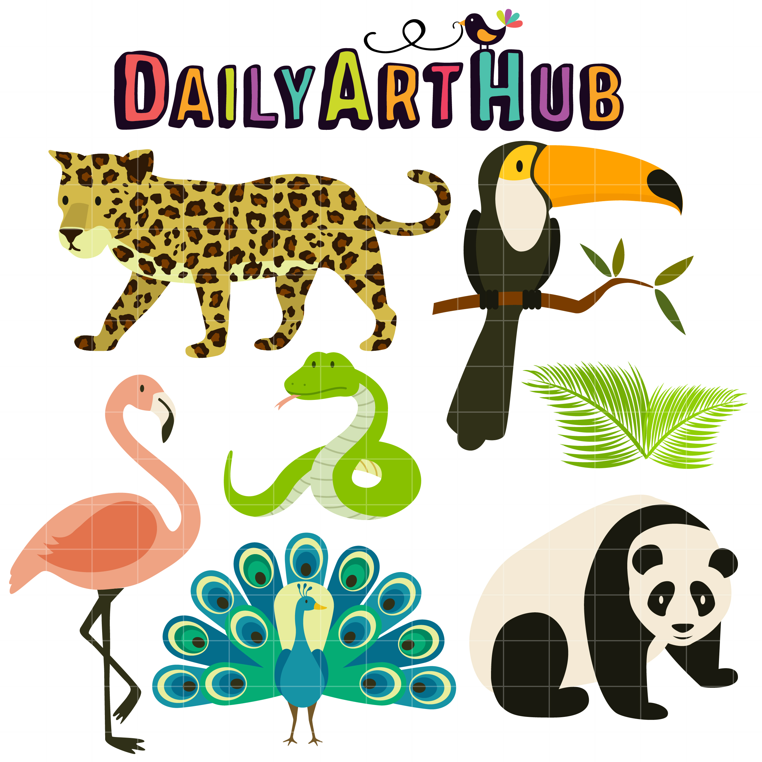 Animals clipart rainforest. Tropical clip art set