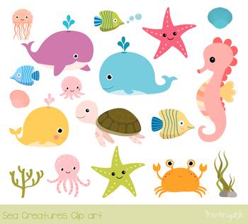 Crabs clipart cute underwate animal. Sea animals under the