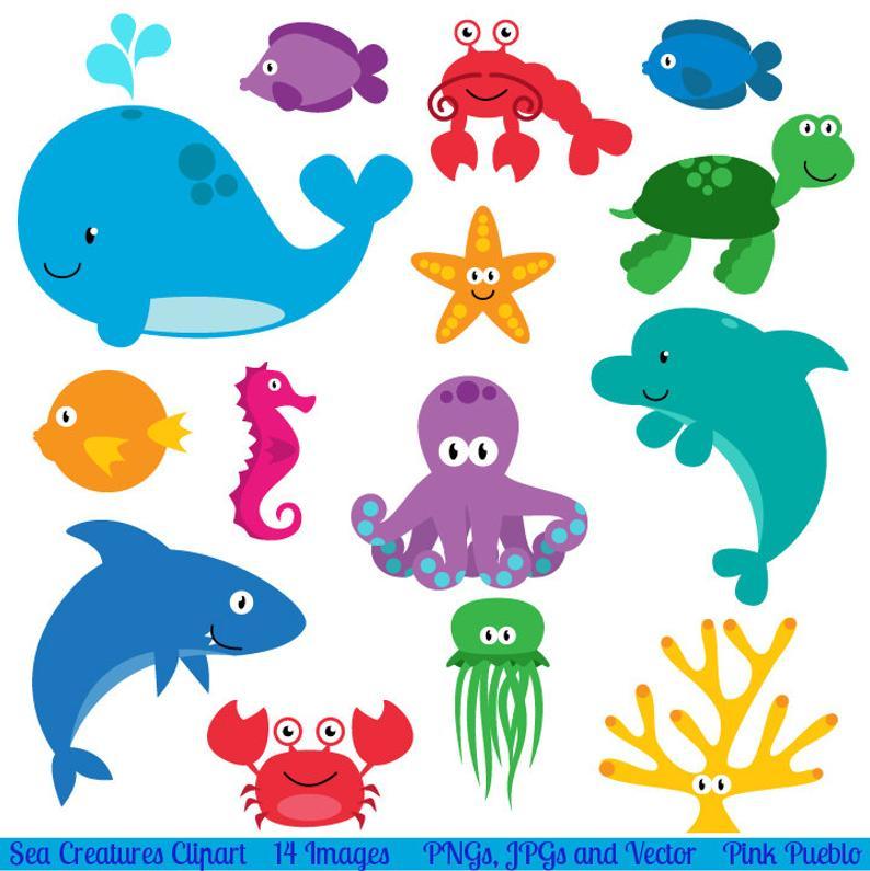 Animal clip art creatures. Animals clipart sea
