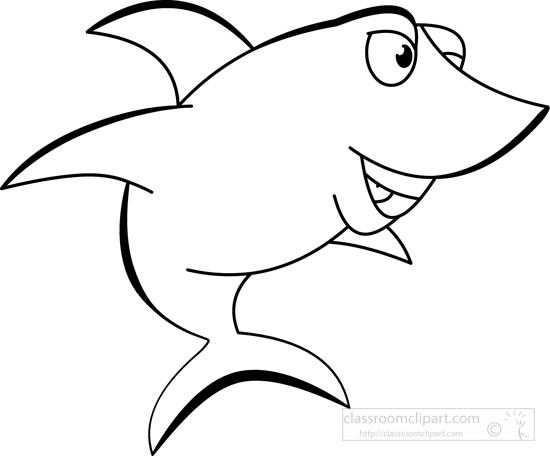Animals clipart shark. Smiling black white outline