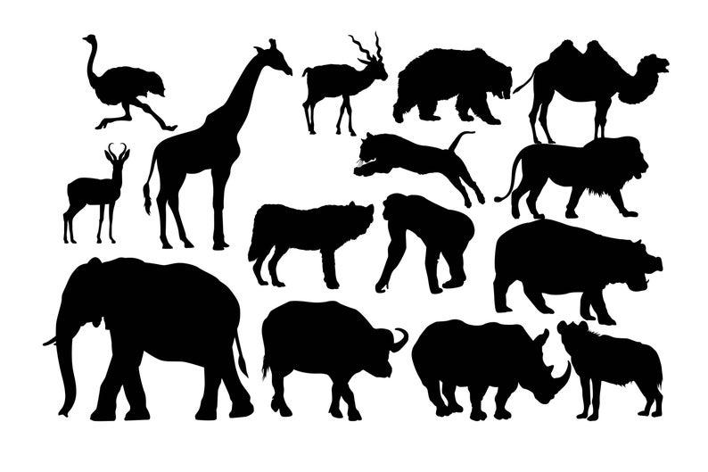 Animals clipart silhouette. Wild animal safari africans