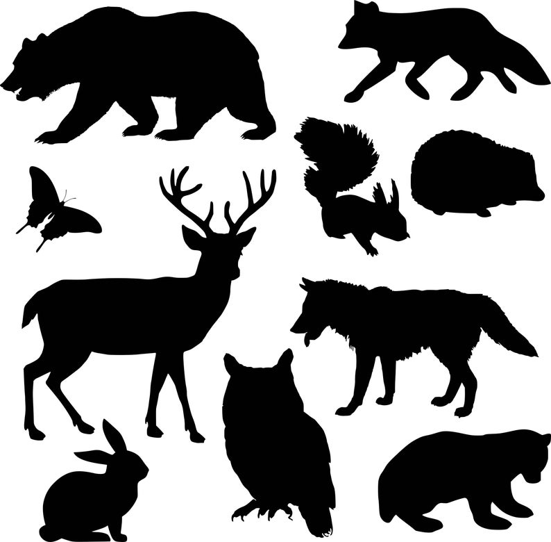 Woodland in svg eps. Animals clipart silhouette