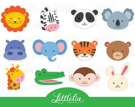 Animals clipart simple. Jungle animal head