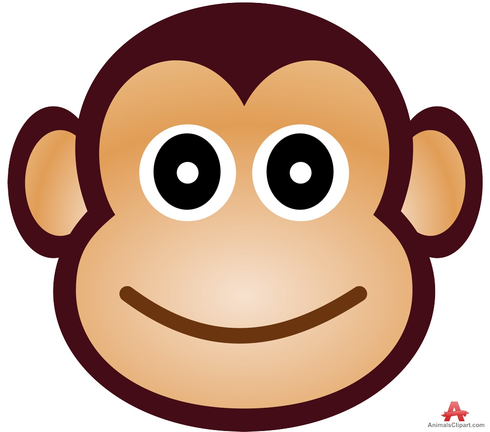 Monkey face free design. Animals clipart simple