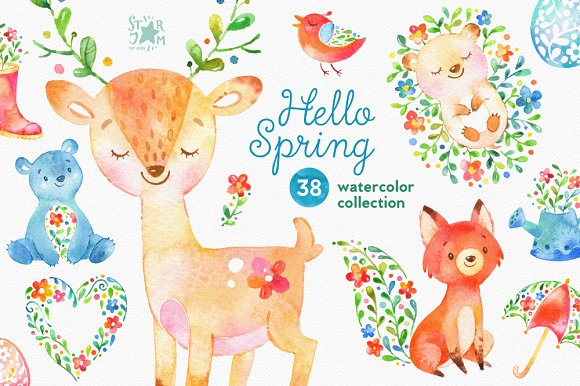 Animals clipart spring. Hello watercolor collection objects