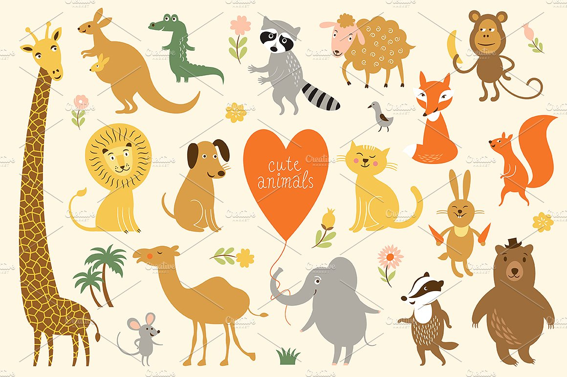 Animals clipart transparent background. Illustrations creative market