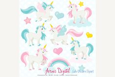 More unicorns rainbow and. Animals clipart unicorn
