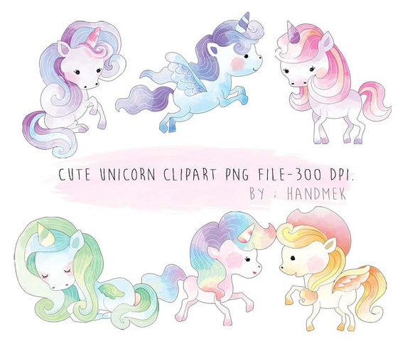 Cute watercolor instant download. Animals clipart unicorn