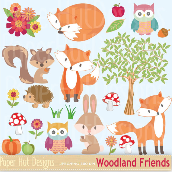 Woodland animal tree . Animals clipart winter
