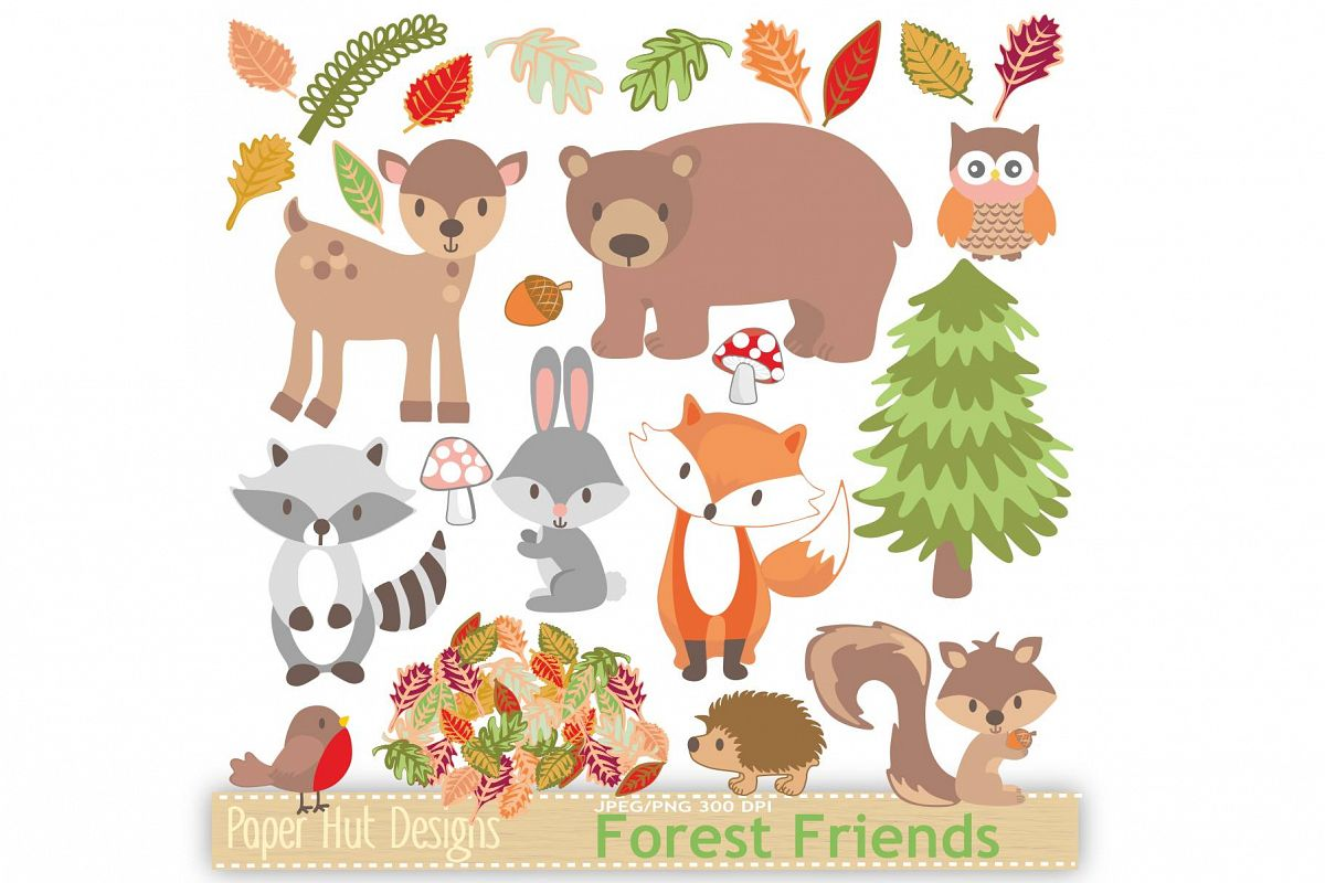 Woodland clipart single animal. Animals by paperhutdes design