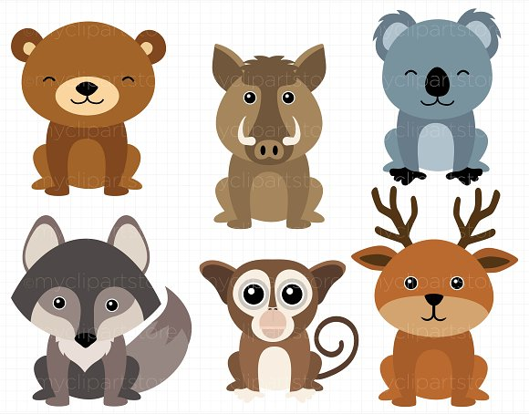 Animals clipart woodland. Illustrations creative market