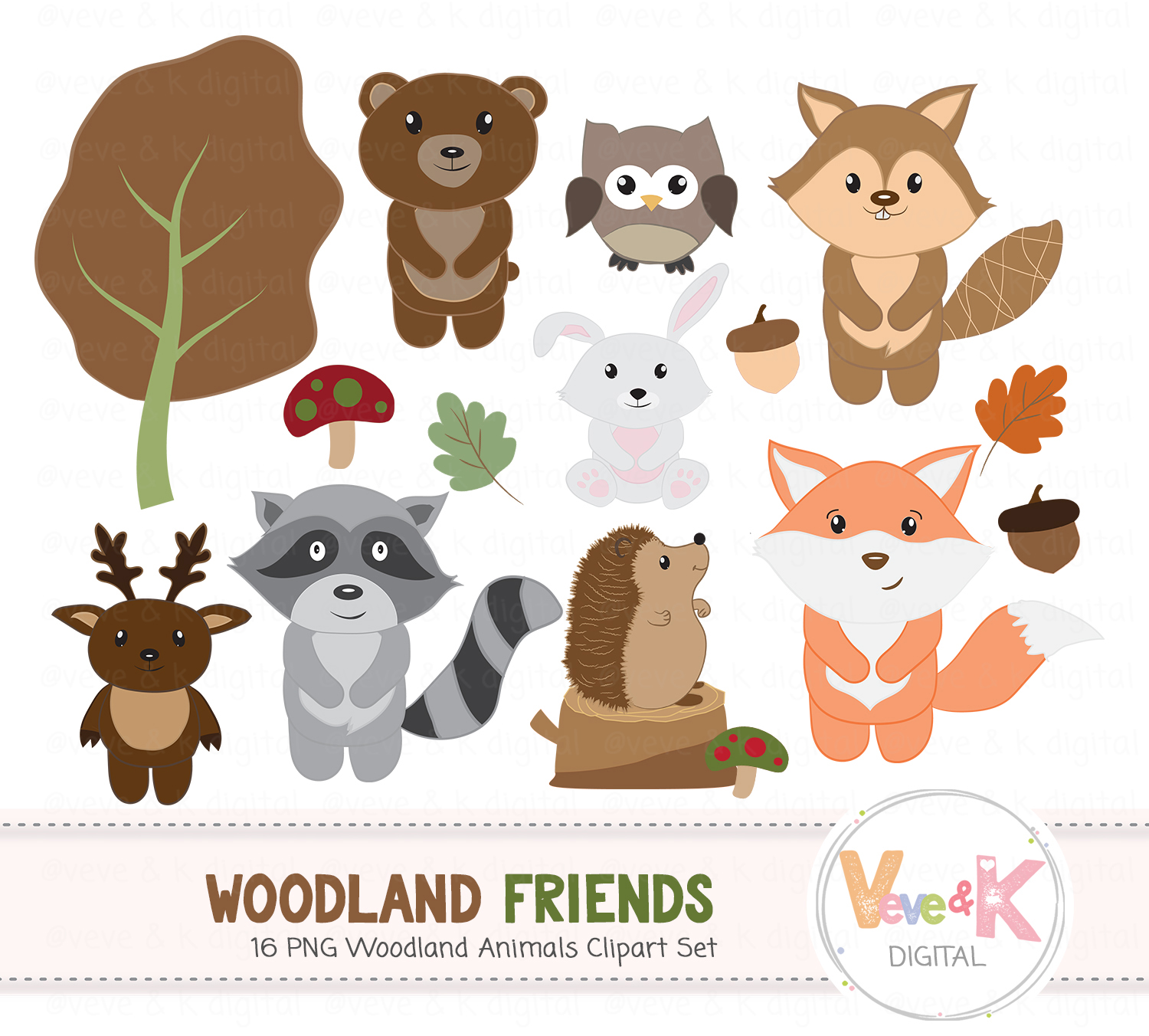 Set design bundles creature. Animals clipart woodland