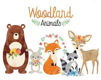 Woodland clipart boarder. Animals etsy