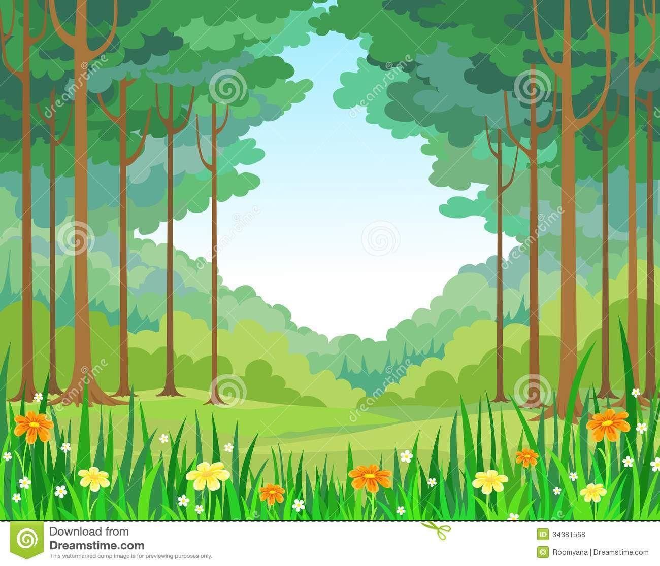 Stylized stock illustrations . Landscape clipart forest