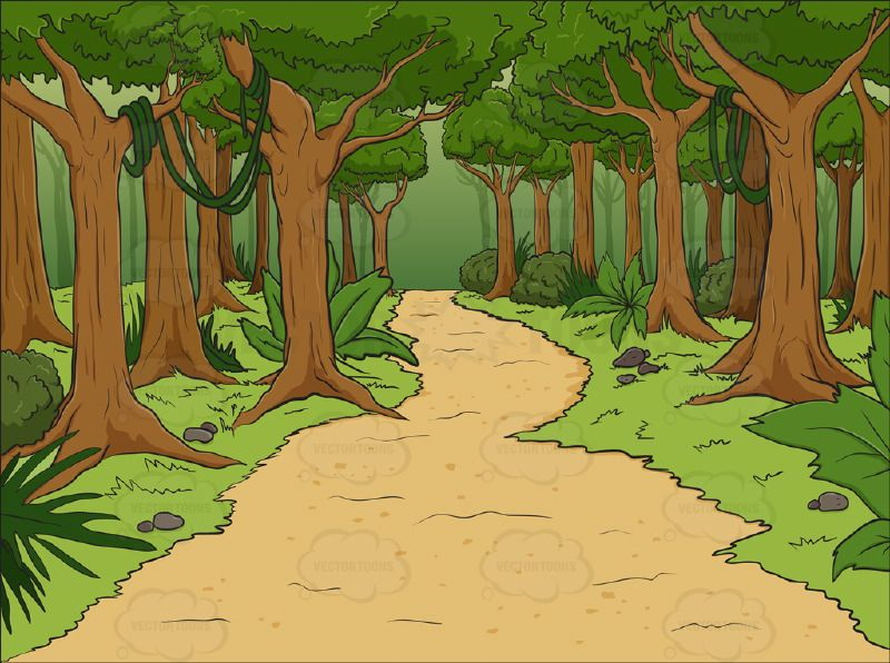 Land clipart forest way. Lush with walking path