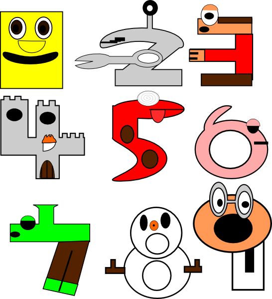 Cartoon numbers clip art. Name clipart number