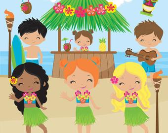 Animated clipart summer. Clip art etsy luau
