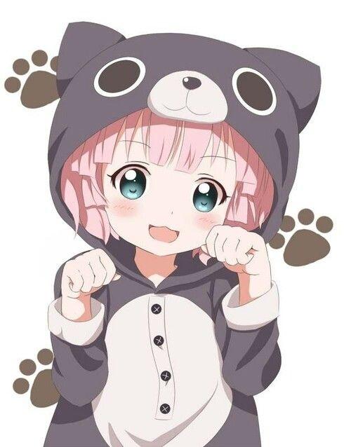 Anime clipart adorable. Girl pink hair neko