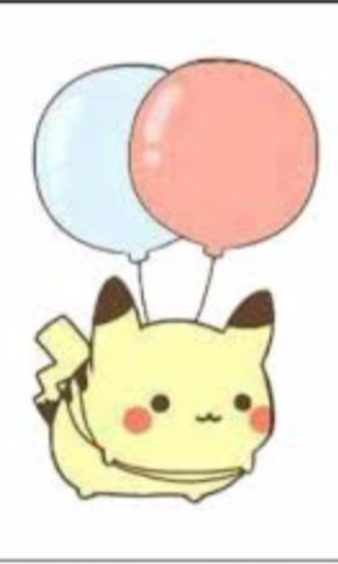 Pikachu pokemon kawaii balloon. Anime clipart adorable