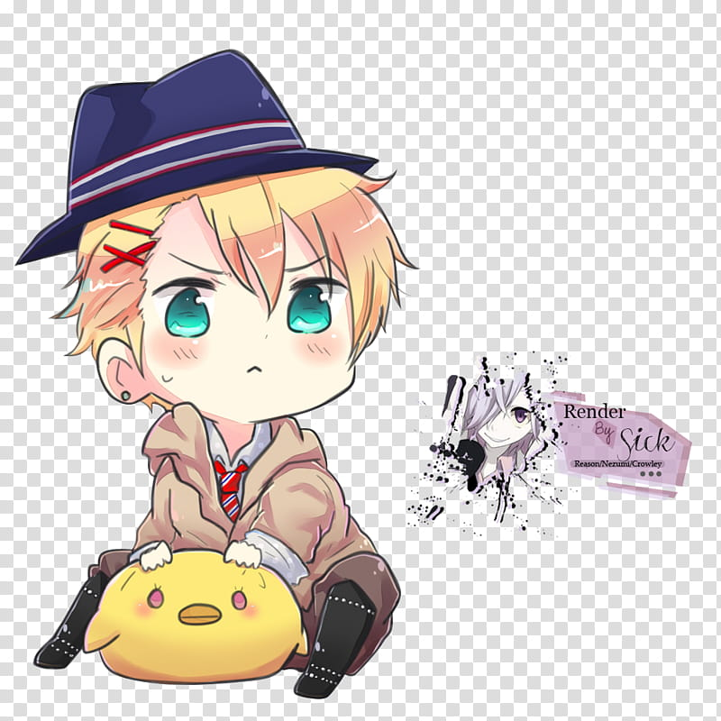 Renders chibi male detective. Anime clipart animated