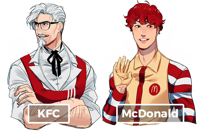 Artist reimagines fast food. Anime clipart anime character
