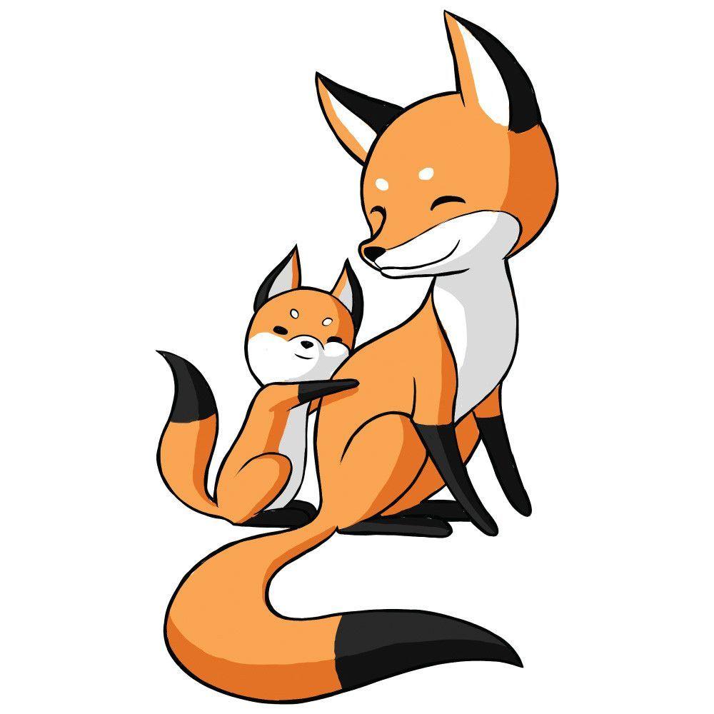 Anime clipart baby fox. Animal art wall sticker