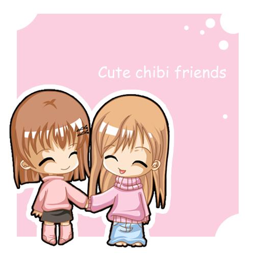 Anime clipart best friend. Cute chibi friends by