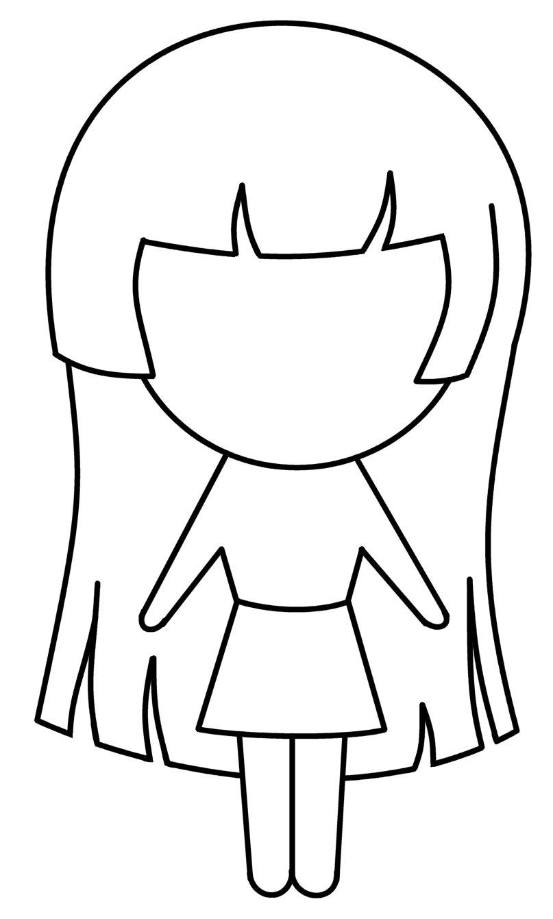Girl cartoon drawn pics. Anime clipart black and white