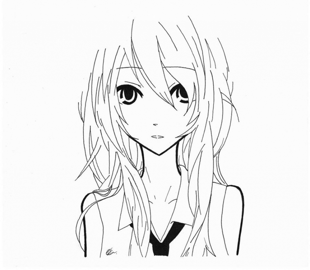 Anime clipart black and white. Drawings of girls random