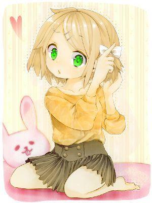Short green eyed toddler. Anime clipart blonde hair