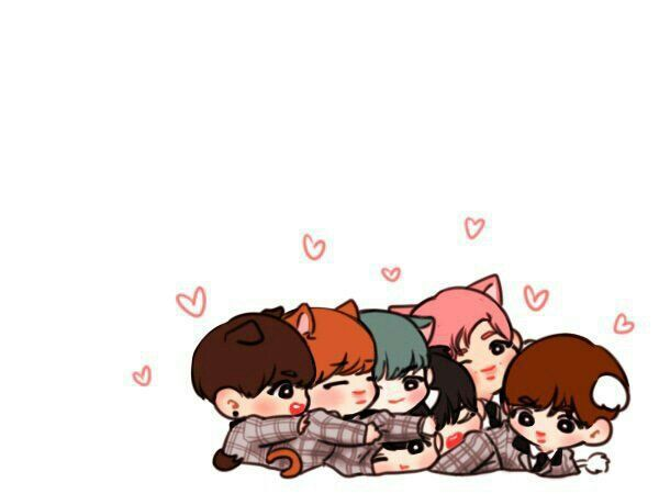 Cute chibi characters army. Anime clipart bts