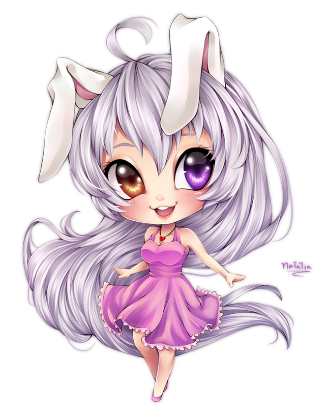 Cute chibi girl by. Anime clipart bunny